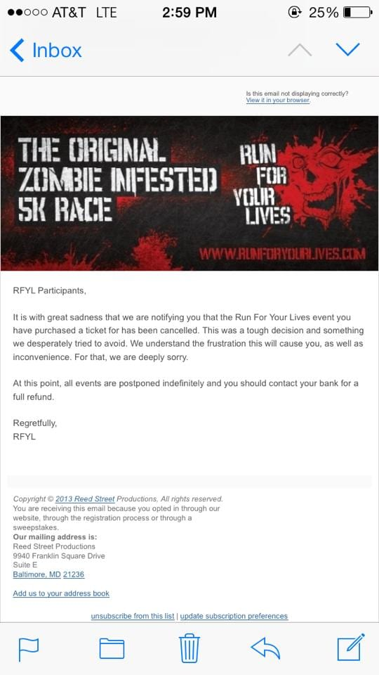 Official notice from Run For Your Lives.
