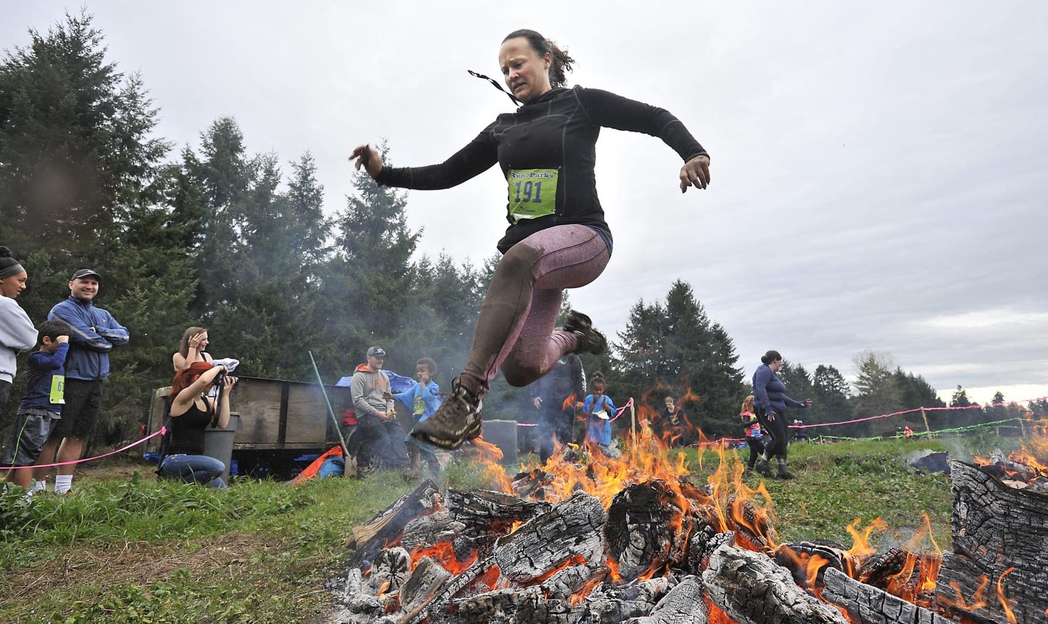 Tacoma Mud Run Fire Jump