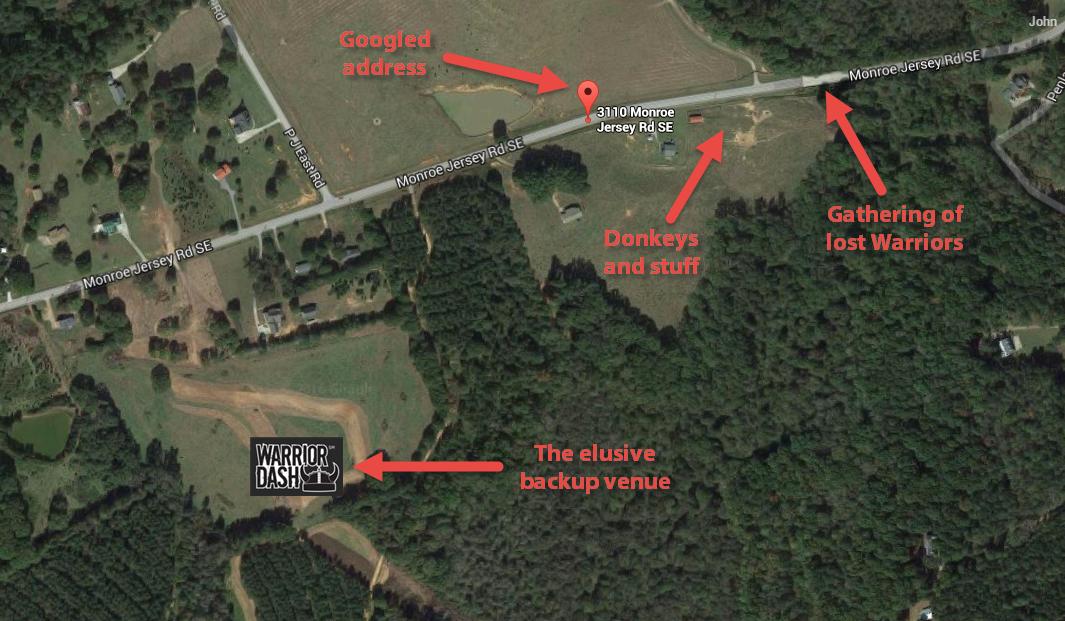 Alternate Location for Warrior Dash Atlanta