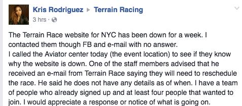 Terrain Race New York Cancel