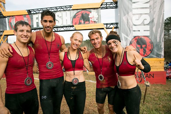 "SPARTAN: ULTIMATE TEAM CHALLENGE -- ""Spartan Season One Championship"" -- Pictured: (l-r) Matt Campione, Beni Gifford, Lynnae Kettler, Ian Deyerle, Laura Messner of ""The Comeback Kids"" -- (Photo by: Mark Hill/NBC/NBCU Photo Bank via Getty Images)"