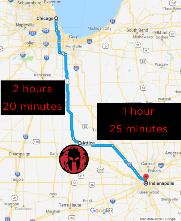 Map of Distances between Chicago,IL Attica, IN and Indianapolis, IN