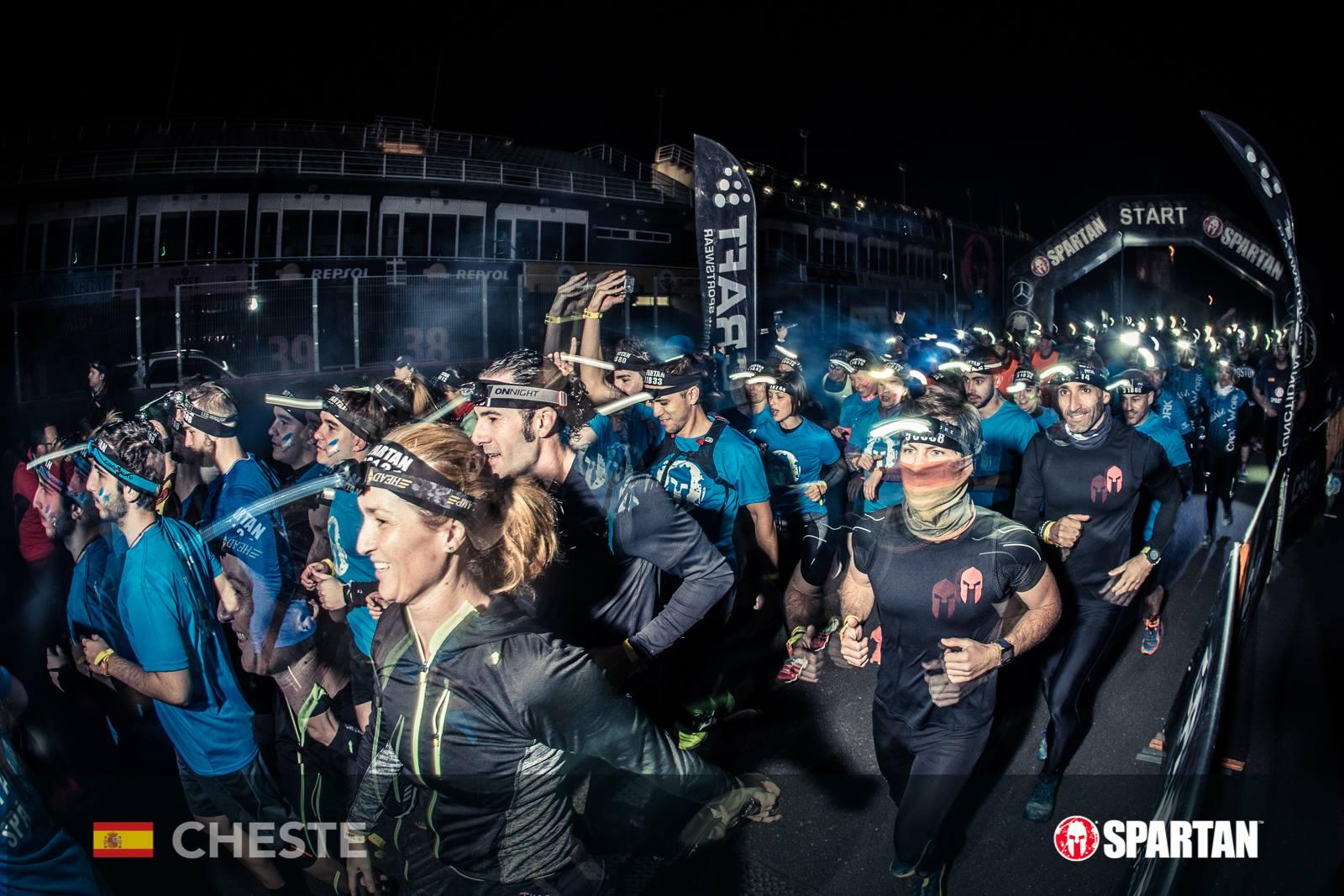 Racers leaving start line in night sprint